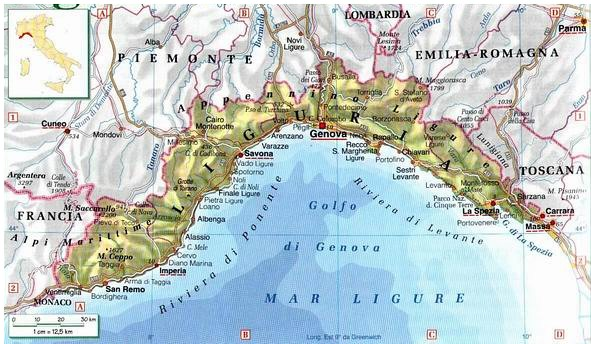 vulcani spenti in liguria map - photo#16